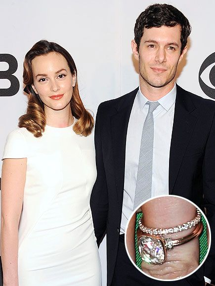 The Most Unbelievable Engagement Rings of 2014 | LEIGHTON MEESTER & ADAM BRODY | The ultimate CW couple managed to keep their engagement and wedding rings under wraps for a record amount of time. But when you've got rings this beautiful – like Leighton's rose gold bezel-set cushion cut with two smaller diamonds on either side, plus her delicately wedding band – you're going to have to show them off eventually.
