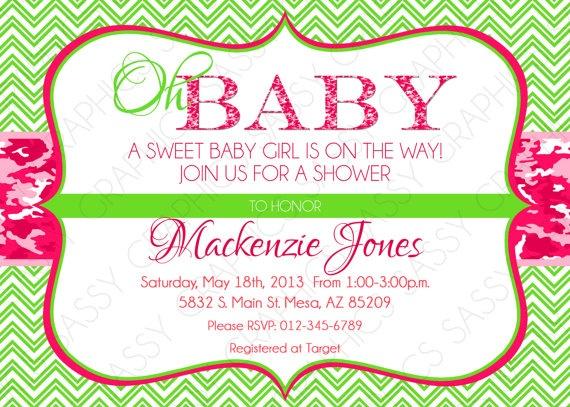 girl baby shower invitation camo chevron pink green oh baby pr
