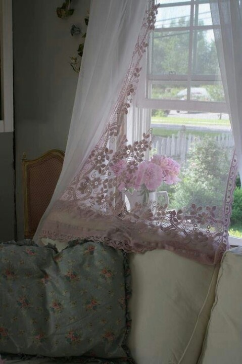 Pink lace curtains