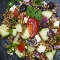 Greek Wheat Berry Salad - made red wine vinaigrette instead