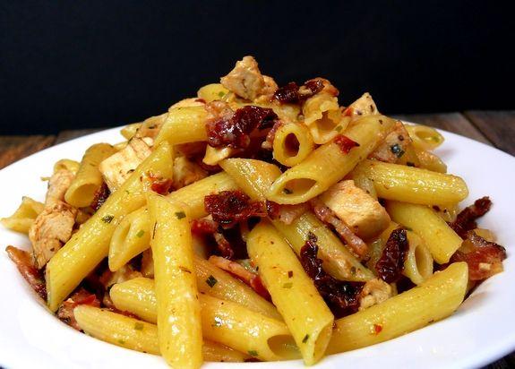 Rustic Chicken-Bacon-Sun-Dried Tomato Penne Pasta   Recipe