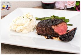 ... Corner: Pepper Crusted Filet Mignon with Balsamic Red Wine Sauce