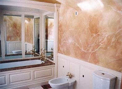 bathroom with faux painted marble walls house paint ideas