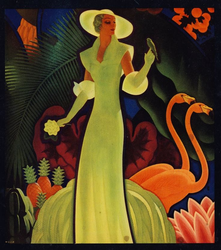 Art deco flamingo flamingos pinterest for Famous art deco art