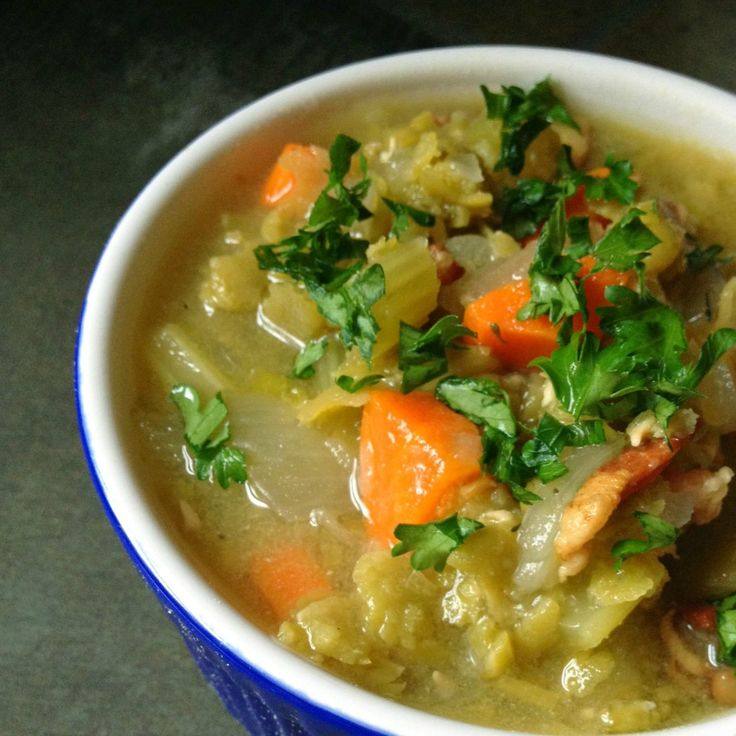 Slow Cooker Split Pea Soup with Bacon - The Lemon Bowl
