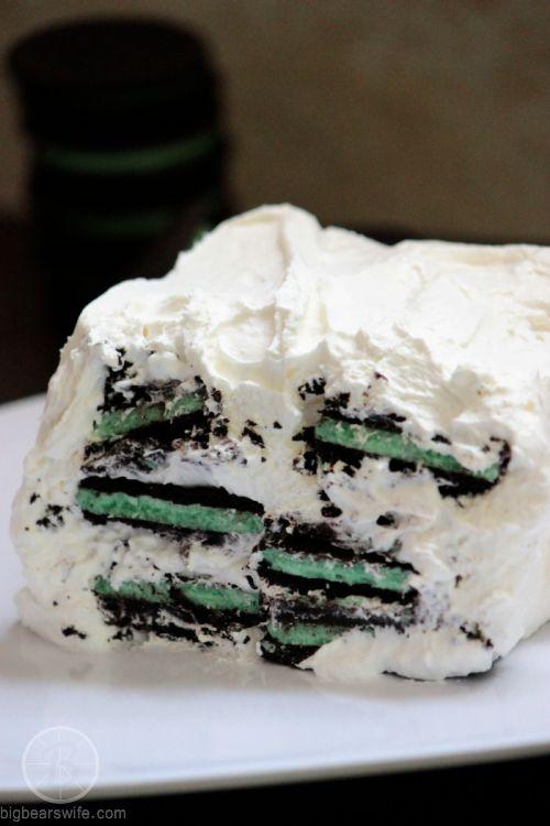 White Chocolate Oreo Mint Icebox Cake From BigBearsWife.com http://www ...