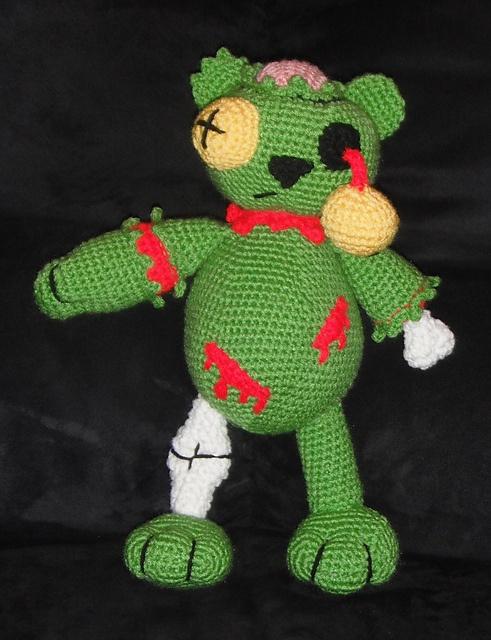 Crochet Zombie Patterns : Crocheted Zombie Bear...me loves it! Crochet Pinterest