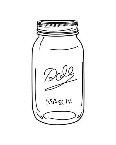 Black Mason Jar Outline Art Print by My August Loves