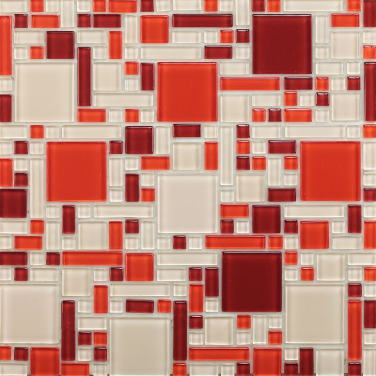 red peel and stick glass mosaic tile pack of 1