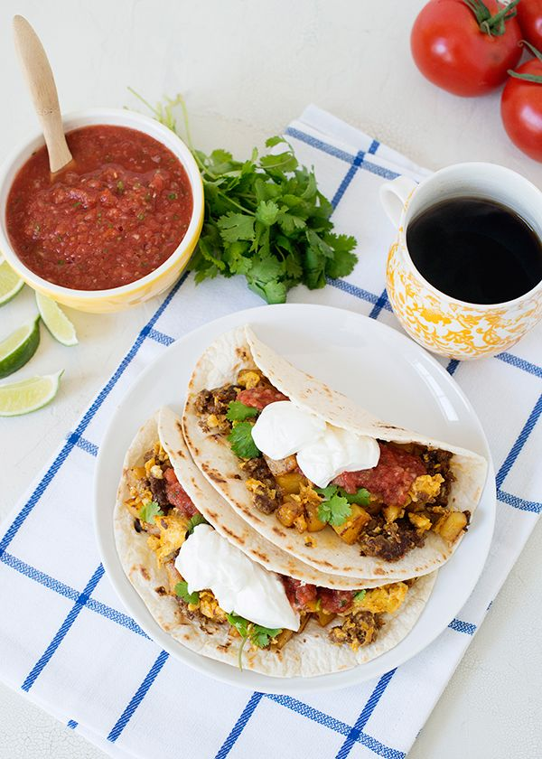chorizo, potato, and egg breakfast tacos. would make miniature ones ...