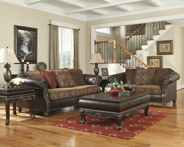 Sofa loveseat set couch living room nailhead old world style