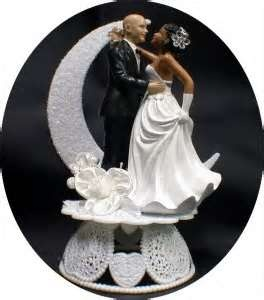 Interracial bride and groom wedding cake topper ass and