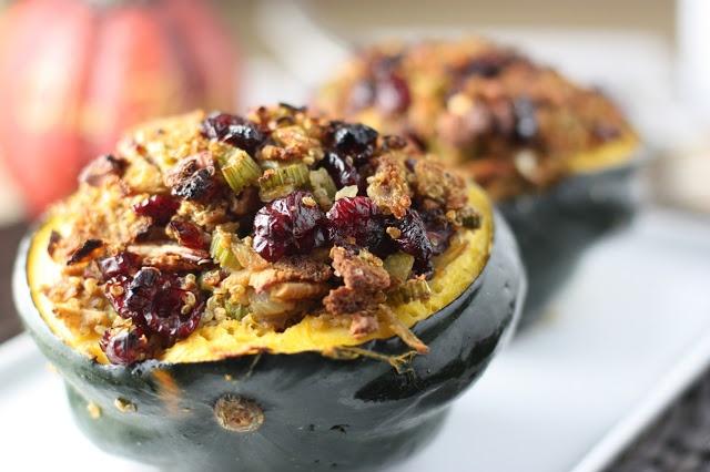 Cranberry Orange Quinoa Stuffing with Pecans in an Acorn Squash