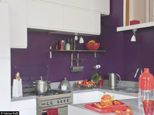 50 cuisines ultra color es for Meuble cuisine violet