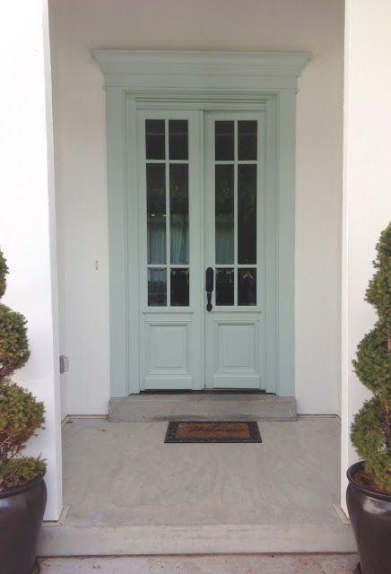 WHITE + GOLD: EXTERIOR PAINT FACE-LIFT / Benjamin Moore Woodlawn Blue front door