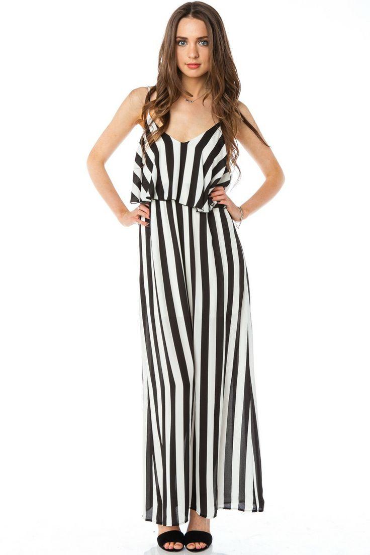 Line In Fashion Design : Vertical circuit maxi dress shopsosie black white