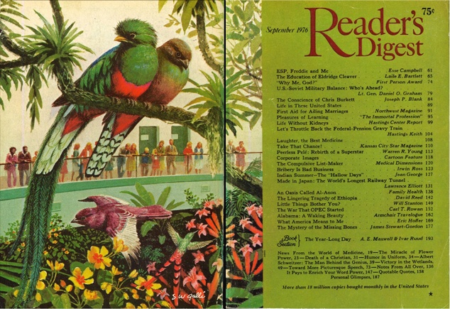 """Reader's Digest front and back cover, September 1976. """"World of Birds: Bronx Zoo, New York."""" Illustrator: Stan Galli"""