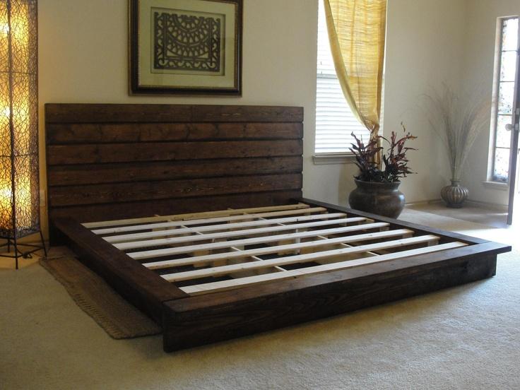 Rustic platform bed storage organization furniture for Platform bed made from pallets