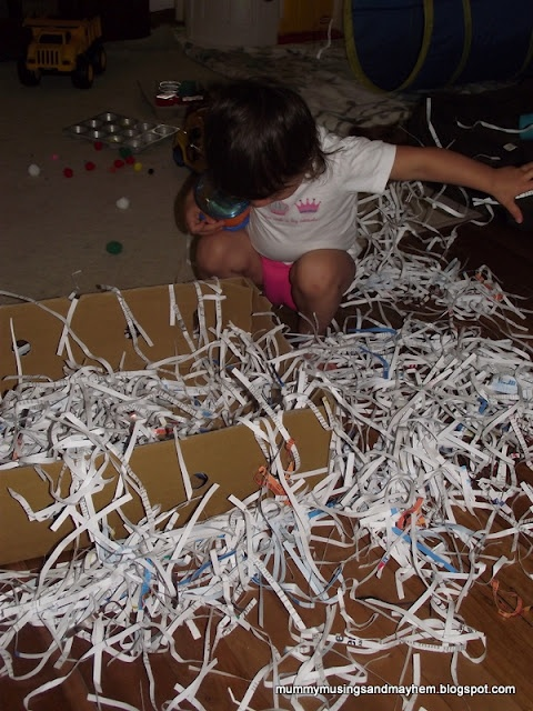 Shredded Paper and a cardboard box...instant toddler fun on a wet day!