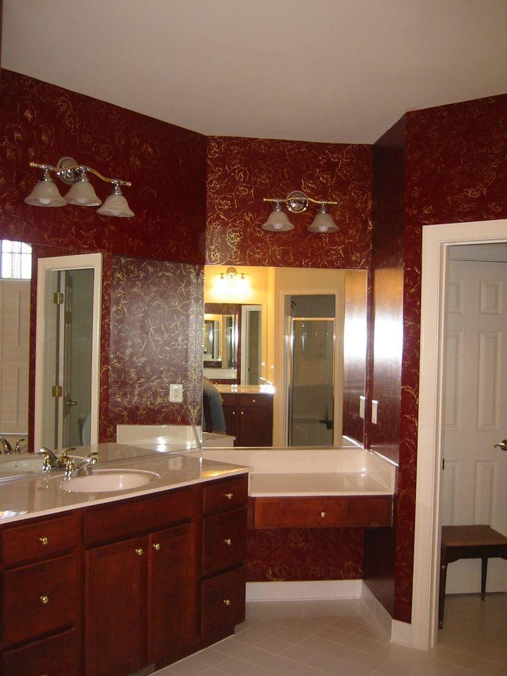 Fine Burgundy And Brown Bathroom Set Along Unusual Design