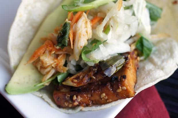 kimchi tofu taco from veganlatina.com | baby you the main dish | Pint ...