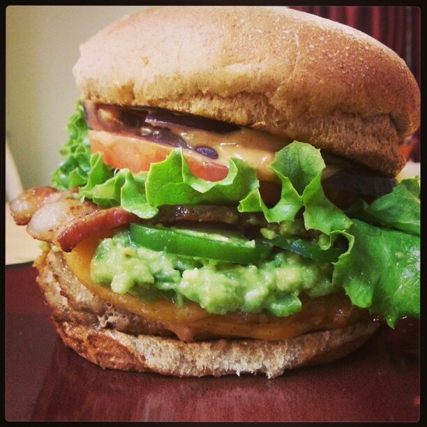 Spicy Chipotle Turkey Burger!- Seasoned turkey burger topped w low fat ...