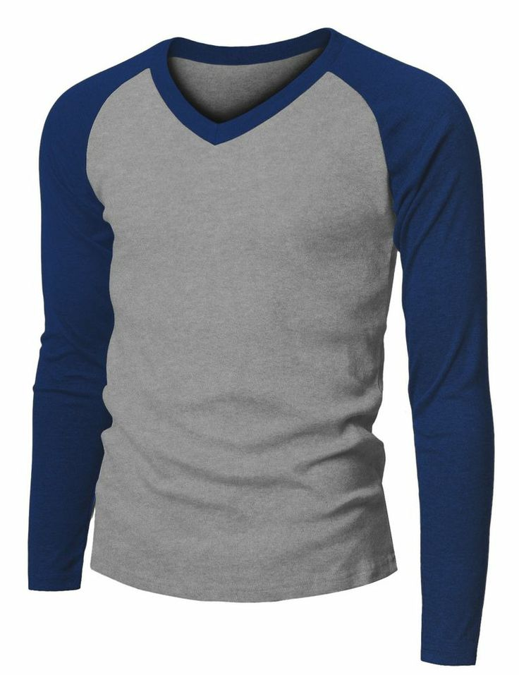 Doublju Mens Long Sleeve V Neck Raglan Baseball T Shirt 149d