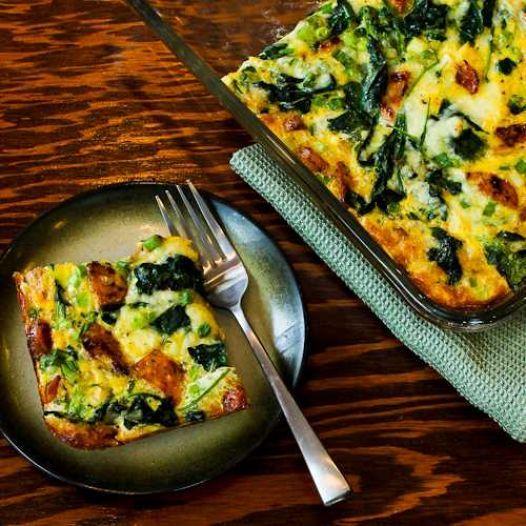 Chicken-Garlic Sausage, Kale, and Mozzarella Egg Bake - Yummyship