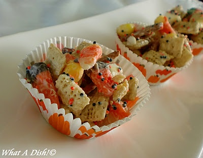 What A Dish!: Halloween (Candy Corn) Chex Mix. Add coconut, nuts, m&ms ...