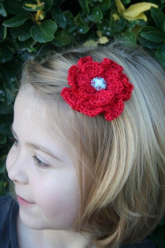 Crochet Red Hairstyles : Red poppy crocheted hair clip by HeadsUpFashion on Etsy, $4.50