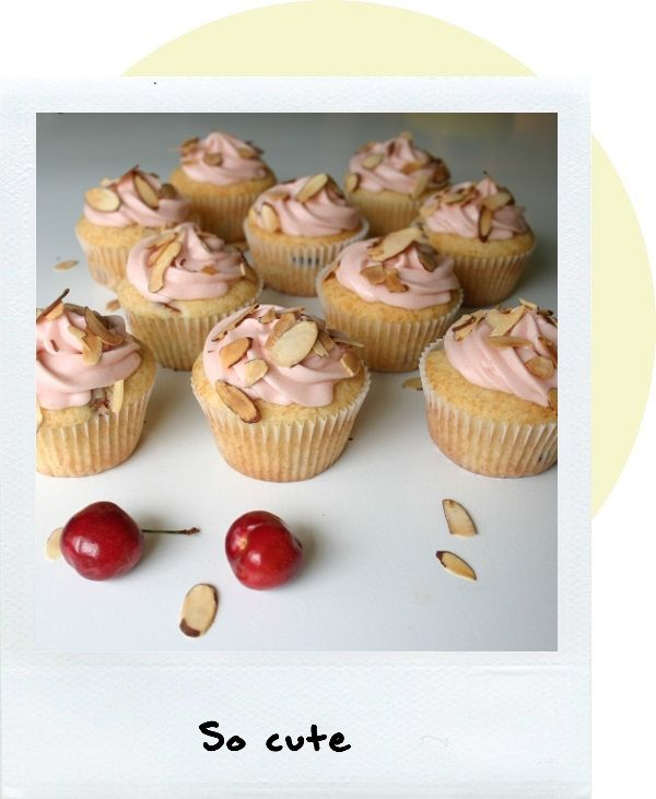 cherry almond cupcakes - not so wild about the almond slivers on top ...
