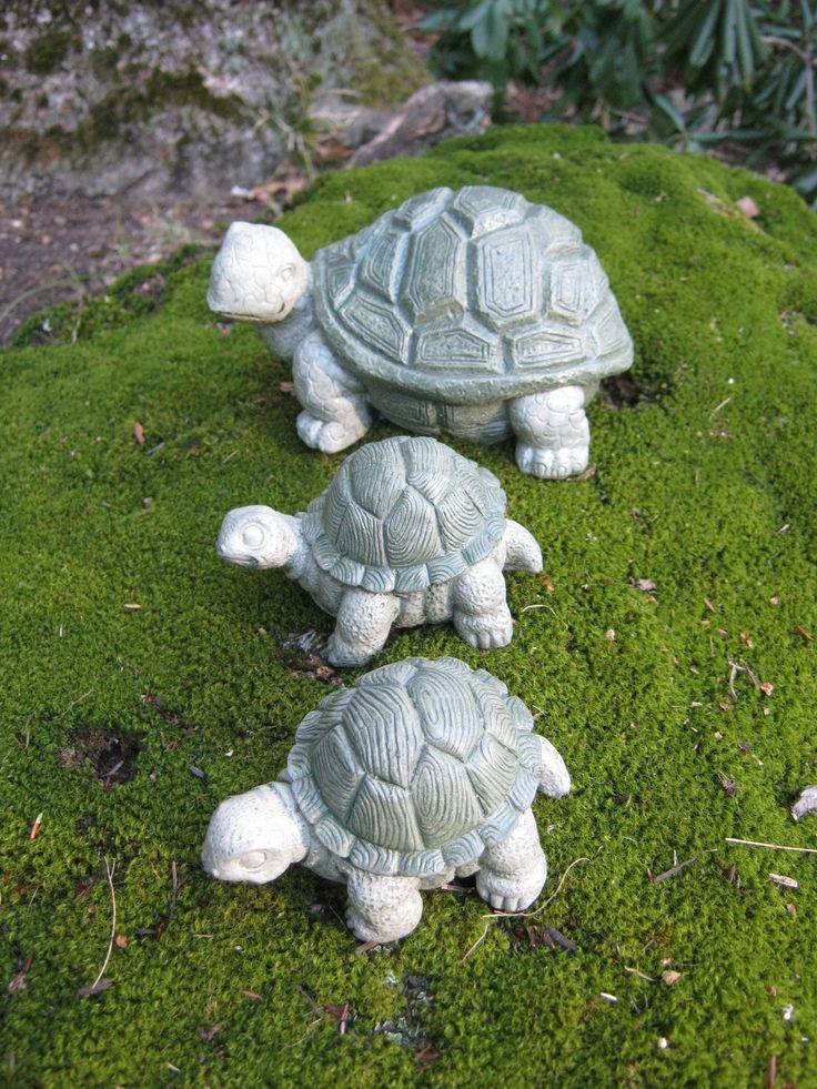 Turtle trio concrete garden statues three little tortoises - Cement cloth garden ornaments ...