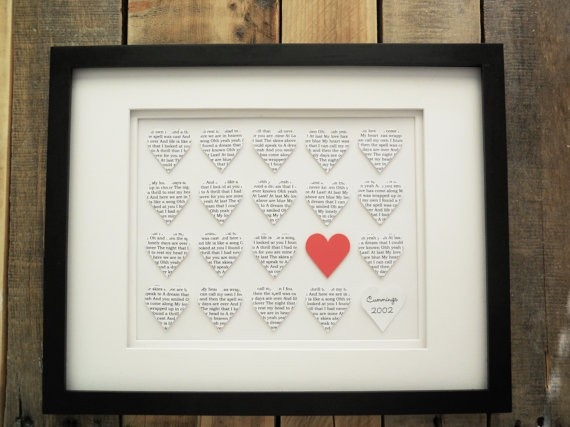 1 Year Anniversary Gift idea - Paper.  (Lyrics to your first dance song.)