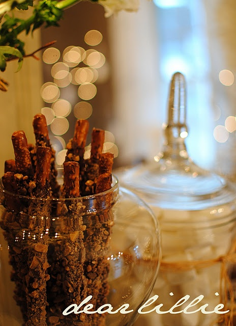 chocolate + toffee covered pretzel rods | Party Food + Supplies | Pin ...