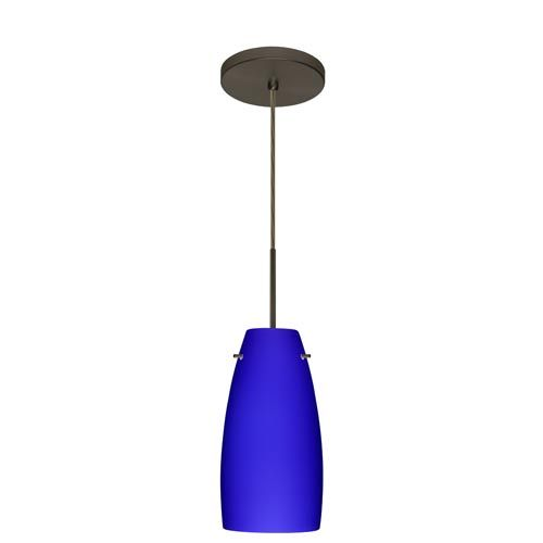 lighting tao 10 bronze one light mini pendant with cobalt blue matte. Black Bedroom Furniture Sets. Home Design Ideas