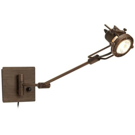 spotlight plug in bronze swing arm wall lamp. Black Bedroom Furniture Sets. Home Design Ideas