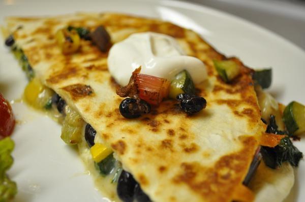Quesadillas with swiss chard, summer squash, & black beans