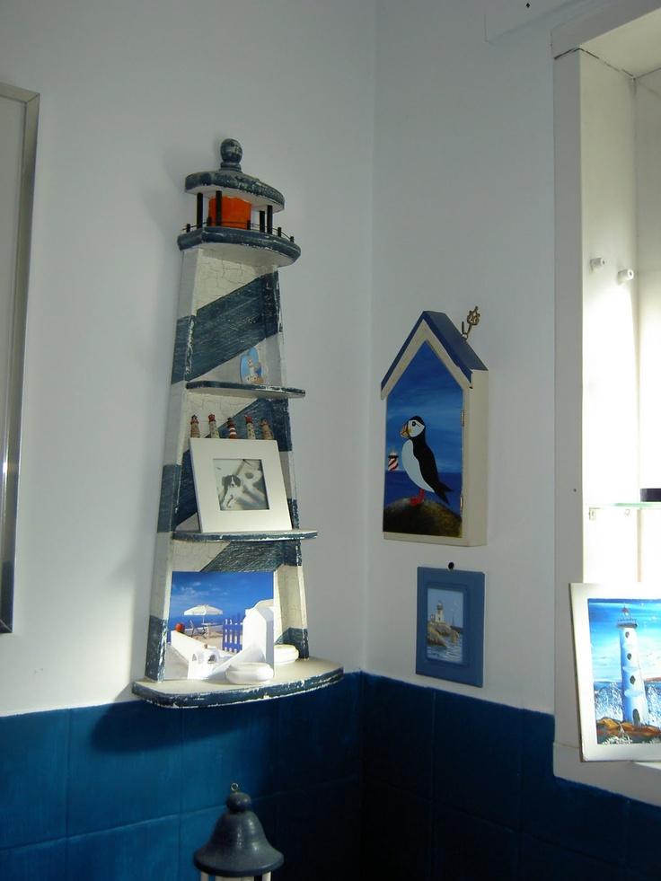 Bathroom shelf lighthouse theme nautical pinterest for Lighthouse themed bathroom ideas