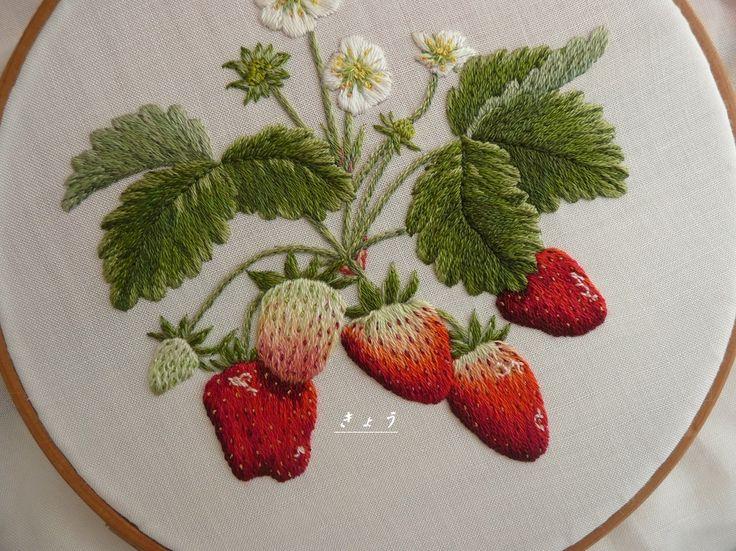 Вышивка фрукты гладью 92