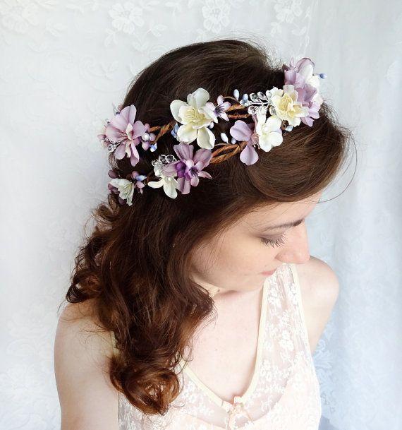 Bridal Flower Wreath For Hair : Lavender flower hair wreath purple wedding headpiece