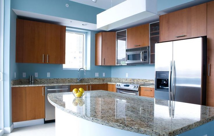Blue kitchen walls with brown cabinets kitchen ideas for Blue and brown kitchen