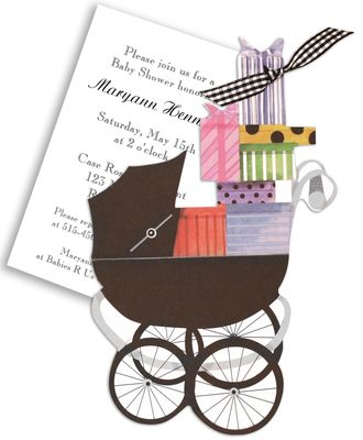 Baby Buggy with Gifts Die-Cut Invitations