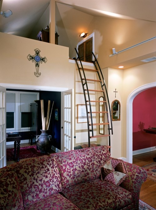 Medium Attic Living Room Design Cool Ladder For Loft Decorating Pinterest
