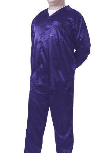 Mens Blue Satin Pajamas