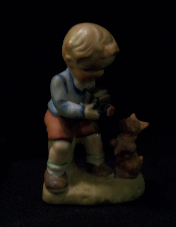 VINTAGE WALES Figurine. Sweet Boy Taking Picture of His Dog. Excellent Pre-Owned Condition! $19.95 obo (Free S&H)