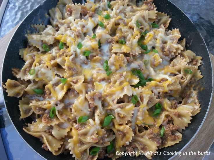 BBQ Bacon Cheeseburger Skillet Pasta | Casseroles | Pinterest