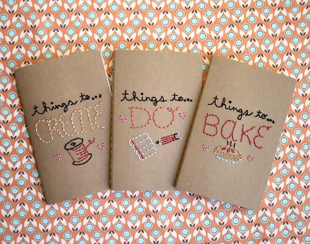 Embroidered Book Cover Diy : Cute embroidered notebooks diy crafts handmade