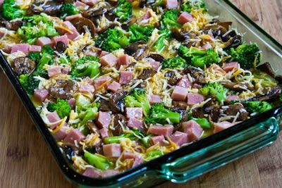 ... Recipe for Broccoli, Mushrooms, Ham, and Cheddar Baked with Eggs
