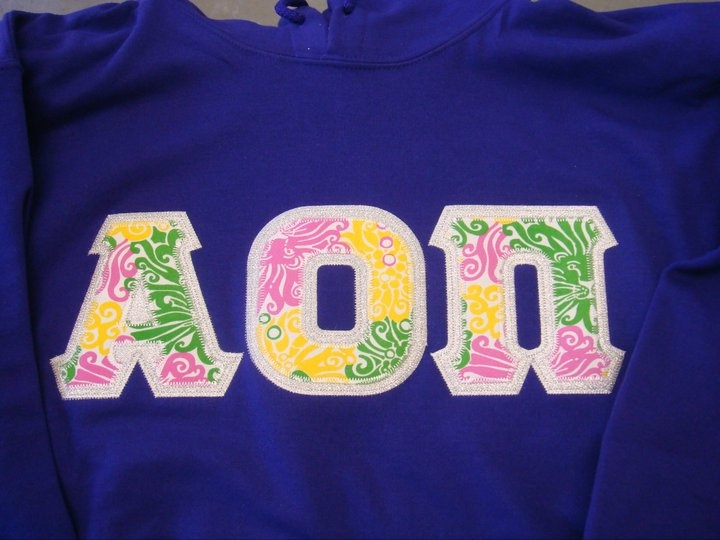 alpha omicron pi letters greek letter shirts pinterest With aoii letter shirts