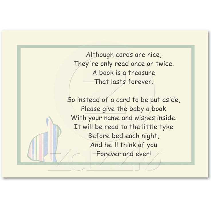 striped bunny baby shower book poem insert card business card from